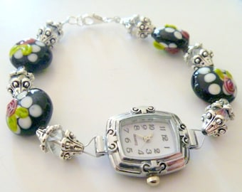 Ladies Black with Pink Flower Lampwork Beaded Watch Fits Large Wrists