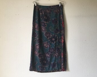 Vintage Skirt - Wrap Around Maxi Long High Waisted