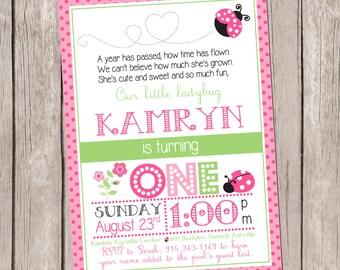 5x7 DIY/PRINTABLE Pink Polka Dot Ladybug Birthday Invitation