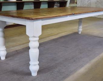 Farm Table | Reclaimed Chestnut Rustic Dining Table | Farmhouse Reclaimed Kitchen Table