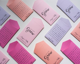 Custom Spring Seed Packet Wedding Favors - Many Colors Available