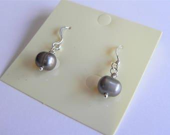 Grey potato pearl sterling silver drop earrings