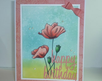 "Handmade Penny Black Flower Happy Birthday Greeting Card - 4 1/4"" x 5 1/2"""