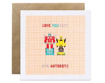 Love You Lots Like Autobots - Transformers - Valentines Card, Valentines, Engagement, Wedding, Congratulations