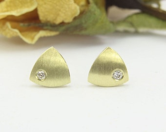 Earrings gold 585 / - with brilliant, mini triangle, handmade