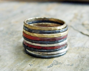 Dark Silver Edition - Set of 10 Mixed Metals Hammered Stacking Rings in Blackened and Bright Silver, Brass, & Fire-Stained Copper.