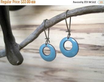 Blue Grey Short Dangle Earrings, Gray Domed Drop Earrings, Blue Copper Enamel Jewelry, Nickel Free Kidney Earwires, Handmade Enamel Earrings