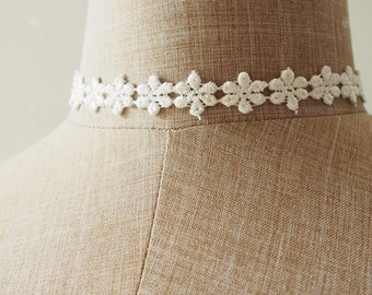Choker Necklace Petite White Floral Lace Choker Necklace Marie Antoinette Style Victorian Chic