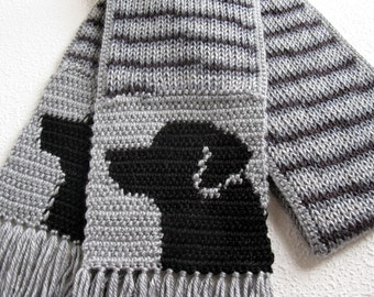 Black Labrador Scarf. Gray stripes, knit and crochet scarf with black Labs. Knitted Labrador Retriever dog. Labrador gift.