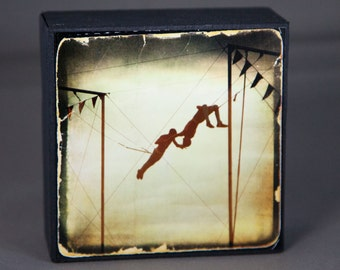 Gold Trapeze Photograph on Wood Panel--You're the One I've Been Waiting For--4x4 Fine Art