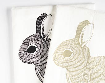 Rabbit tea towels, kitchen towel, spring decor, flour sack towel set, rabbit decor, rabbit towels, bunny tea towels, bunny tea towels