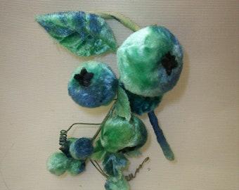 Turquoise silk  antique velvet berries  1930s.