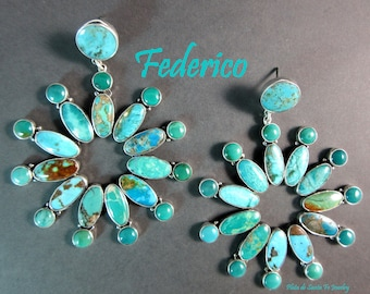 FEDERICO~Vintage Turquoise Sampler~Turquoise Floral Pattern Design~Large Distinct 925 Earrings~Free Shipping