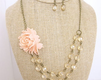 Champagne Statement Necklace Pink Wedding Jewelry Pink Champagne Bridesmaid Jewelry Double Strand Beaded Flower Necklace