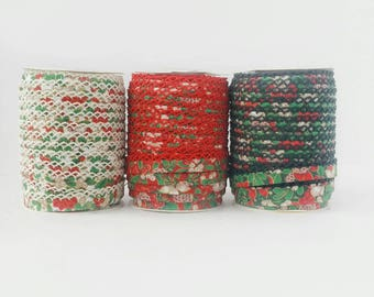 Christmas Quilt Binding - Red Green White Crochet Bias Tape - Christmas Double Fold Bias Tape - Christmas Decor Trim - Christmas Ribbon