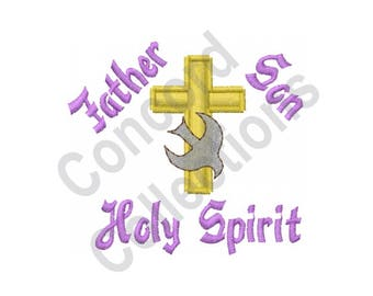 Cross With Dove - Machine Embroidery Design, Father, Son, And The Holy Spirit - Machine Embroidery Design