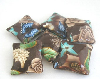 Coffee Brown Beads,  Polymer Clay Pillow Beads, Brown Roses, Turquoise Flowers, 6 Pieces