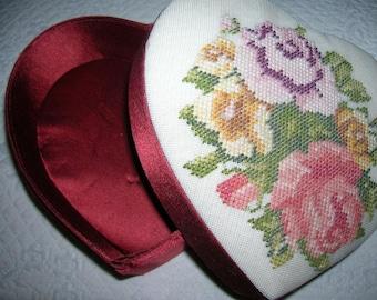 Vintage Needlepoint Satin Heart Box