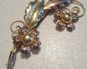 ON SALE  : Vintage Van Dell Gold Filled Over Sterling Flower Pin Brooch