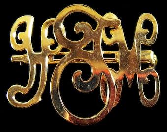 """Vintage 70's Monogram Initial Gold Pin """"YJM"""""""