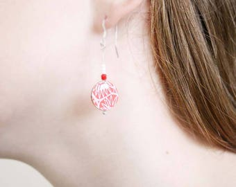 Mothers day gift, Paper anniversary gift, paper earrings, paper jewellery, Gift for wife, Red drop earrings, lightweight earrings
