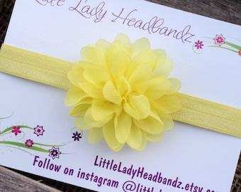 Yellow headband yellow baby headband chiffon flower - baby headband chiffon - infant toddler