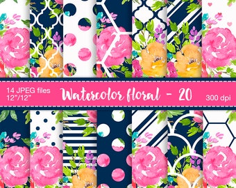 Floral Digital Paper, Watercolor floral, Digital paper, Planner stickers resources, Watercolor digital paper, Digital pattern, Paper flowers