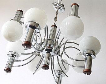AMERICAN 8 ARMS chandelier mid century vintage 1970 era
