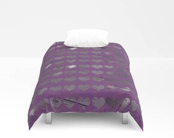Purple Hearts Photo Bed Cover - Duvet Cover Only - Original Art Purple Newspaper Hearts - Twin - Full - Queen - King - Made to Order