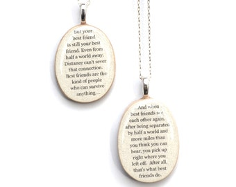 Best friend necklace set wood best friend jewelry going away gift friendship necklace personalized jewelry graduation gift  best friends