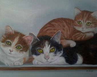 "3 Cats on A shelf Cat Oil Painting 3 Rescue Cats Orange Tabby Cat Black & White and Calico Cat Cat Lovers 16"" X 12"" Canvas Karen Snider"