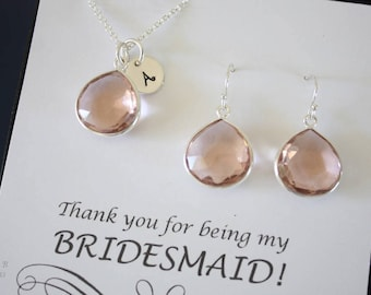 9 Monogram Bridesmaid Necklace and Earring set Champagne, Bridesmaid Gift, Champagne Quartz, Sterling Silver, Initial Jewelry, Personalized