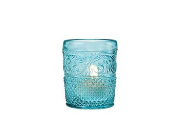 Turquoise molded glass tealights - 12pcs - NEW in box