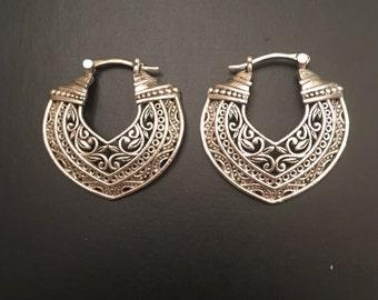 Silver Tone Layered Tribal Design Earrings