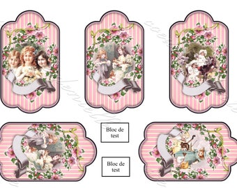Board transfers 5 images (7 x 12 cm each) on children vintage