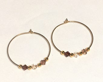 Shades of Brown Swarovski Crystals on Gold Plated Ear Hoops Earrings