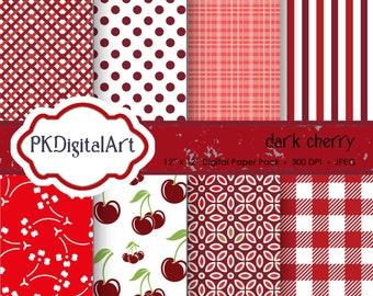 "Dark Cherry Digital Paper - ""Dark Cherry""  patterns backgrounds, projects, design, scrapbooking"