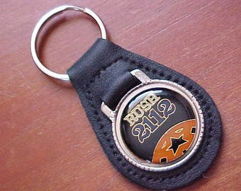 1976 RUSH 2112 Black Leather Key Fob One of a Kind Made W Vintage Hat Pin Scarce Rock N Roll Collectible Geddy Lee Neil Pert Alex Lifeson