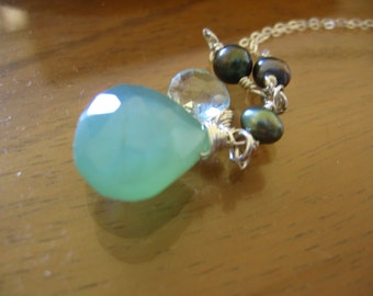 Sterling silver necklace with Faceted blue Chalcedony charm