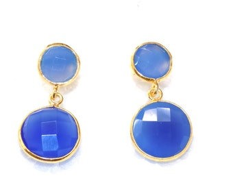 Blue Chalcedony Dangle Drop Earring in .925 Sterling Silver
