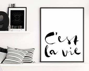 C'est la Vie Print, Paris Decor, Gallery Wall Prints, Typography Wall Art, Paris Wall Art, Wall Art Prints, Typography Print, French Prints