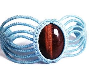 Red Tiger Eye Macramé Cuff Bracelet