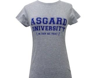 Asgard University Ladies T Shirt  - Thor Shirt (Available in sizes s,m,l,xl)