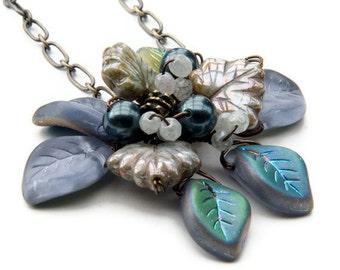 Blue Flower Necklace, Blue and Gray Leaf Necklace, Blue Flower Pendant Necklace,  Nature Jewelry, Gift for Her under 50 dollars