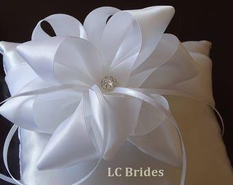 Ring Bearer Pillow, Wedding Pillow, White, Wedding Ring Pillow, Ribbon Flower