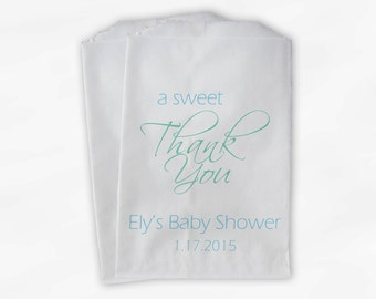 Sweet Thank You Personalized Baby Shower Candy Buffet Treat Bags - Set of 25 Light Blue and Mint Favor Bags (0137)