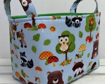 Fabric Basket Organizer Storage Container Bin Basket - Diaper Caddy - Diaper Storage -  Baby Woodland Animals Fabric