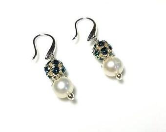White Freshwater Pearl Earrings Blue Pave Crystal Earrings Hypoallergenic Nickel Free Earrings Beaded Silver Dangle Jewelry Gifts for Her
