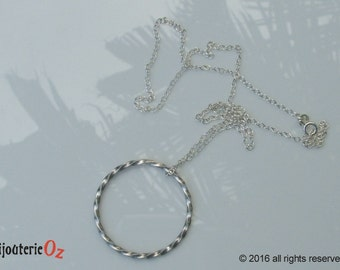 Twisted Silver Circle necklace, Open circle necklace, Geometric pendant hand made by BijouterieOz.