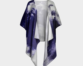 Stained Glass Sky Draped Kimono, wrap, gift for her, Canadian made